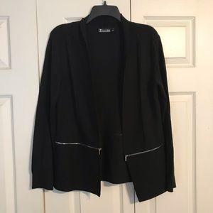 7th AVENUE DESIGN Medium Black Cardigan Zipper